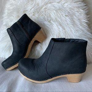Dansko Maria Black Leather Clog Ankle Boots